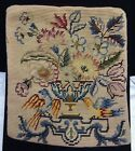 ANTIQUE VICTORIAN WOOL NEEDLEPOINT PILLOW CUSHION COVER VELVET FLOWER URN BIRDS