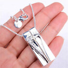 925 Sterling Silver 2 Half Heart 34x13mm Bar Pendant+ Necklace Chain Set Z789