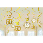 50th WEDDING ANNIVERSARY HANGING SWIRL DECORATIONS 12 Party Supplies Foil