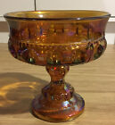 Vintage Indiana amber thumbprint carnival glass pedestal candy dish ~ excellent!