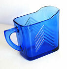 HAZEL ATLAS Cobalt Blue Depression Glass Creamer CHEVRON Art Deco VTG FREE SH