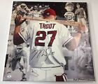 MIKE TROUT SIGNED CANVAS 18x20 COA MLB ANGELS LARGE AUTOGRAPH COA LETTER PSA DNA