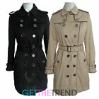 Womens Long Mac Coat Ladies Sofy Touch Double Button Breasted Belted Jacket