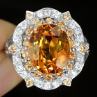EXCEPTIONAL GEME 5.15 CT  YELLOW SAPPHIRE CMAIN STONE 925 SILVER RING SIZE 6.75
