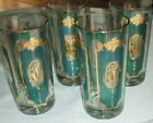Vintage Culver Turquoise Green and Gold Highball Set of 4, Pre-Signature Set