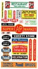 Store signs - Grocery - Restaurants - Banks DIORAMA'S 1/24th - 1/25th Scale