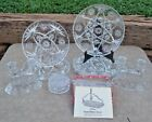 Vintage Anchor Hocking PRESCUT Glass 9 PC LOT Plates Butter Puff Box Candles NR