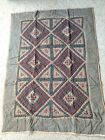 PRiMiTiVe oLDe THyMe DiaMoND PaTCHWoRK QuiLT THRoW SiZe ReD, TaN