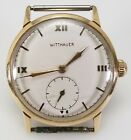 VINTAGE WITTNAUER 1950's SOLID 10K GOLD SWISS MECHANICAL MENS WATCH