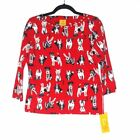 NEW 44 Ruby Rd Red 3 4 Sleeve Beaded Dog Print Knit Top Size Petite M