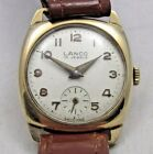GOOD VINTAGE LANCO MENS SOLID 9CT GOLD CASED WRISTWATCH 15 JEWELS RUNNING WELL