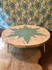 Vintage mid century modern Danish tiled style coffee table turquoise gold round
