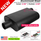 Aluminized Steel Chamber Muffler 25 inches Offset In Center Out Black 211752
