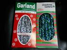 2 Vintage Christmas National Silver and Double Glo Blue Green Rope Twist Garland