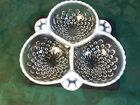 Mid-Century Anchor Hockng Moonstone Opalescent Hobnail Tri-Divided Bowl