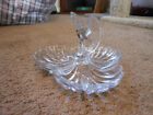 3 SECTIONED SCALLOPED SEA SHELL DESIGN CLEAR GLASS CANDY DISH WITH EAGLE CENTER