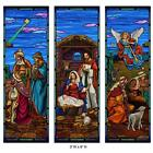 Stained Glass Christmas Nativity Banner Set 3 Foot W x 9 Foot H
