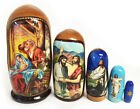 Christmas Matryohka Nativity Scene Christ 5 Piece Russian Icon Nesting Dolls 4