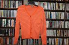 J. Crew Orange White Striped Cardigan Sweaer Elbow Patches Ladies  S  (bin115)