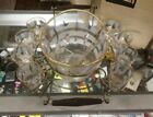Midcentury Jeanette Glass 11 Piece Glass Punch Bowl Set for 8 With Caddy-Box