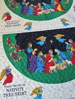 Fabric Traditions NATIVITY Christmas Tree Skirt Pre Quilted Fabric 2 Panels Kit