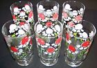 6 Anchor Hocking HILDI pedestal iced tea glasses  Red Flowers and a Sitting Bug