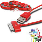3PCS 6FT USB DATA POWER CHARGER CABLE DOCK CONNECTOR APPLE IPAD IPHONE IPOD RED