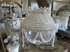 BEAUTIFUL OLD Vintage BEADED DOME LIGHT SHADE Clear Glass Crystals all Around