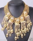 New Design huge skull Statement crystal chunky chain charm Glod necklace 1203