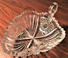 TRIANGLE SHAPE clear cut glass vintage candy dish bowl sawtooth edge finger loop