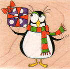 NEW PENNY BLACK RUBBER STAMP PENGUIN COOLEST THANKS Chrristmas gift Holiday