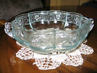 Vintage Scalloped Serving Bowl, Rose Pattern Blue Tint. 6 3/4 x 6 3/4
