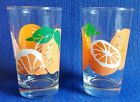 2 ANCHOR HOCKING ORANGE JUICE 8oz GLASSES LN VINTAGE MID CENTURY SET LOT