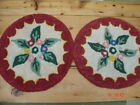 Vtg Hand Made Hooked Rug Chair Pads ~ Set of 2 ~ Country Red with Flowers