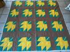 Vintage 40s Maple Leaf Cabin Quilt Hand Quilted Brown Yellow Green Feedsack Twin