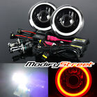 "6000K BI-XENON HID/7"" ROUND RED 3D SMD HALO BLACK HOUSING PROJECTOR HEADLIGHTS"