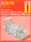 Haynes Workshop Manual Austin Maxi 1969-1981 All Models 1485cc 1748cc Repair