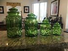 MCM Gorgeous L E Smith Glass Moon and Stars Light Green Complete Canister Set