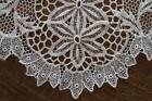 Vintage Schiffli French Embroidered Lace Table Runner White Floral 44