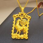 Pure 999 24K  Yellow Gold 3D Lucky Yuanbao 福 Coin Chicken Square Pendan / 5.6g