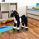 Qaba Kids Plush Ride On Toy Walking Horse with Wheels and Realistic Sounds