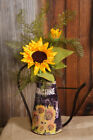 Country new black tin Sunflower decor watering can /nice