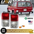 DEPO Euro Style Red Clear Rear Tail Light Set for 1984 1996 Jeep Cherokee XJ