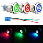 19mm 12V LED Power Symbol ON OFF Car Push Button Switch Latch Metal Waterproof