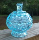 Vintage LE Smith Moon and Stars Light Blue Glass Round 5.5