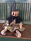 PRIMiTiVe oLDe THyMe FaLL/ HaLLoWeeN PuMPKiN HeaD WiTCH DoLL W/ RuSTy STaR