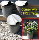 3 Vintage VERMONT Maple Sap Buckets+Covers+Taps~Rustic Country Farmhouse~Flowers