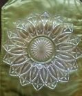Antique Vintage Collectible Large Federal Glass Petal Clear Cut Pattern Dish 9