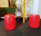 Vintage Mason Jar Salt and Pepper Shakers Red ceramic salt and pepper shakers