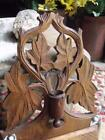 Lovely Old Vintage Hand Carved Wall Mount Candle Box Match Holder